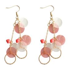 SANSUMMER Drop Earrings Color Shell Round Gold Personality Fashion Pink Sweet Lady Temperament Shell Long Earrings 788 comtex syl149042 lady watch fashion classic gold color sweet ladylike