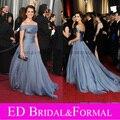 Пенелопа крус платья оскар оскар синий открытые плечи вечернее официальный пром платье