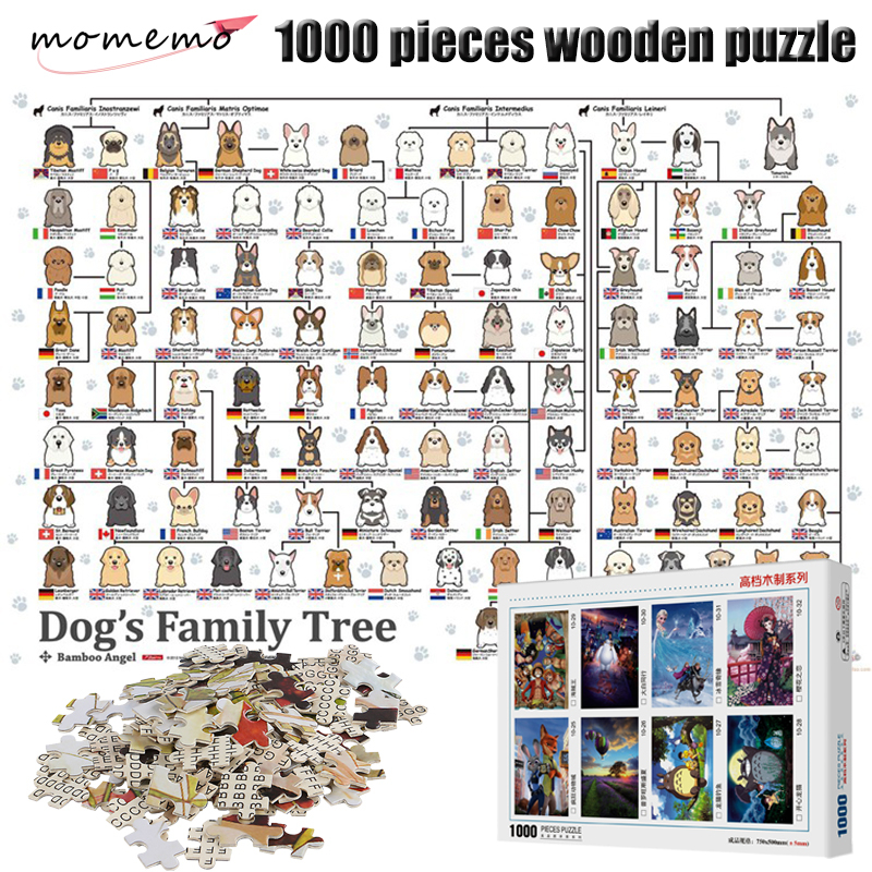 MOMEMO Dog's Family Tree Assembling Toy Puzzle 1000 Pieces Wooden Puzzle Adult Decompression Jigsaw Puzzle Toy Gift For Children