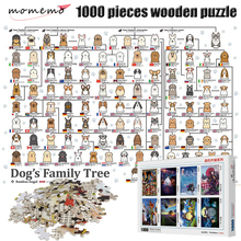 MOMEMO Dogs Family Tree Assembling Toy Puzzle 1000 Pieces Wooden Adult Decompression Jigsaw Gift for Children