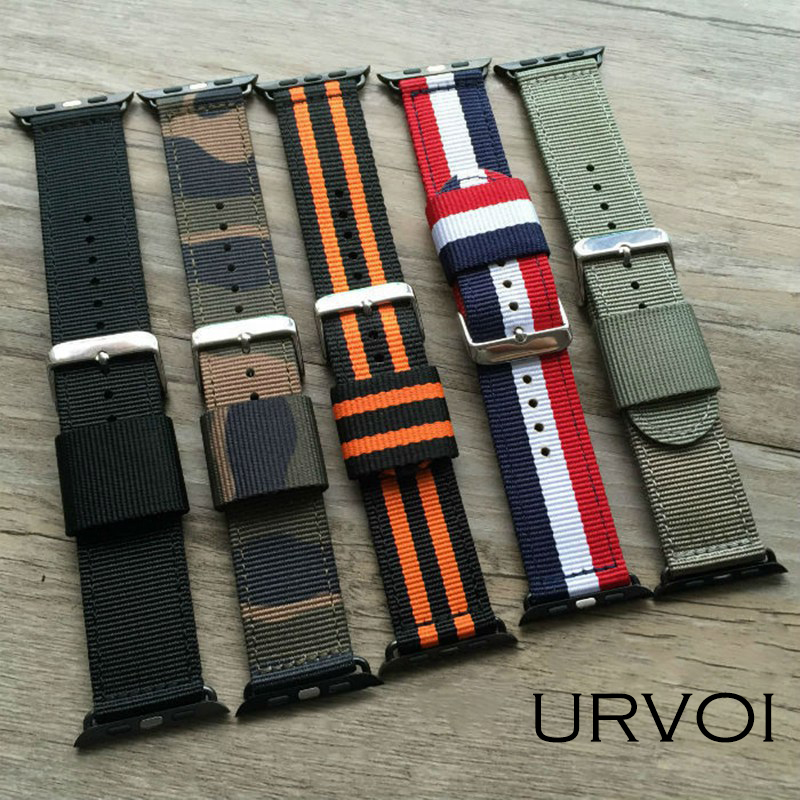 URVOI band for apple watch Series 1 2 3 NATO nylon strap for iwatch new colors fashion styles pattern with silver/black buckle цена и фото