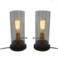 Dia13CM*28CM Bedside Table Lights Industrial Vintage Wood Table Lamp With Glass Lampshade Edison Table Lamps Luminaria Lampara