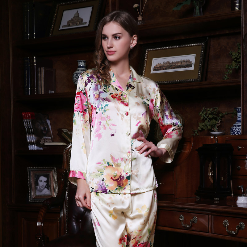 Brand Women 100 Silk Pajamas Set Female Long Sleeve Pyjama Pants 2 Piece Sets Silk Sleepwear