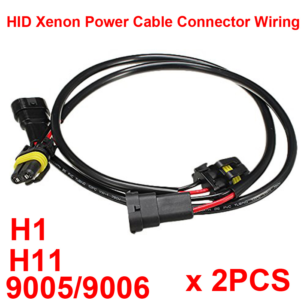 2PCS HID Xenon Power Cable Connector Extension Line Wiring Harness Adapter Ballasts Socket Play N Plug H1 9005 9006 H11 HB3 HB4