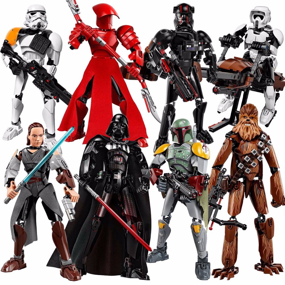 Star Wars Last Jedi Boba Fett Figures Kylo Ren Phasma Chewbacca Royal Guard Rey Darth Vader toys building kits