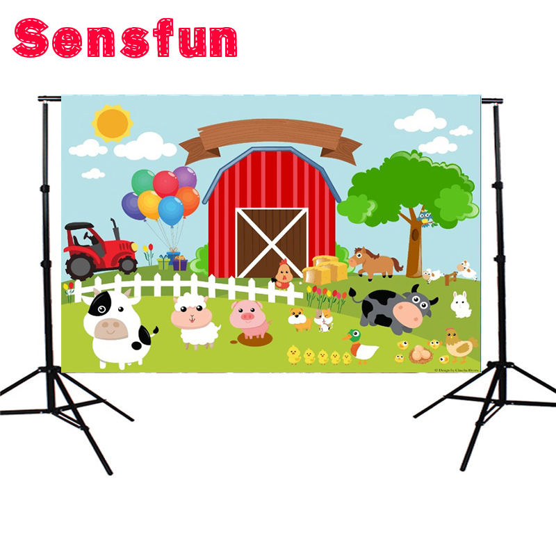 Sensfun Cartoon Barnyard Tractor Balloons Animals Fence Garden Custom Photo Studio Backdrop Background Banner Vinyl 7x5ft sensfun where the wild things are dessert table backdrops custom photo studio backdrop background vinyl 7x5ft