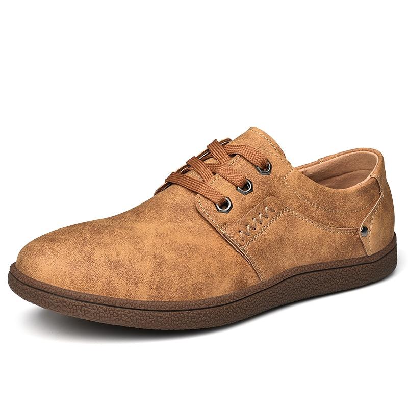Design Ngouxm Nouvelle Noir Brown marron Taille Sneakers En Hommes up Mode La red Lace Cuir Chaussures Casual Printemps Plus Automne Mâle Véritable kaki Homme TqpxHTrwX