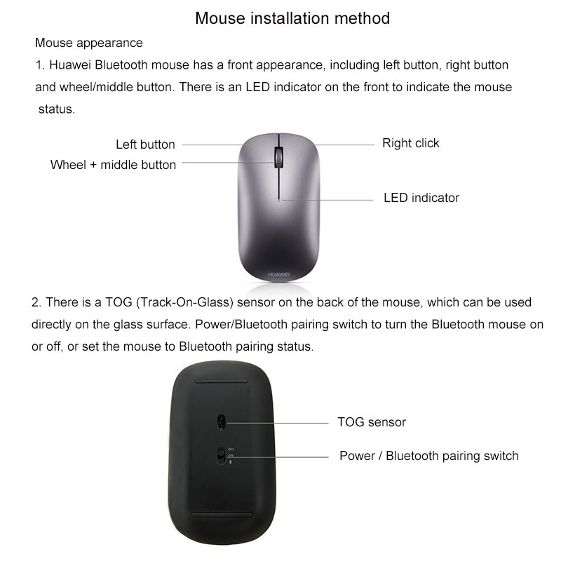 Image 3 - HUAWEI AF30 Wireless Mouse Bluetooth 4.0 wireless Optical Silent Mouse Supports TOG for Matebook 13/14/X Pro/EMice   - AliExpress