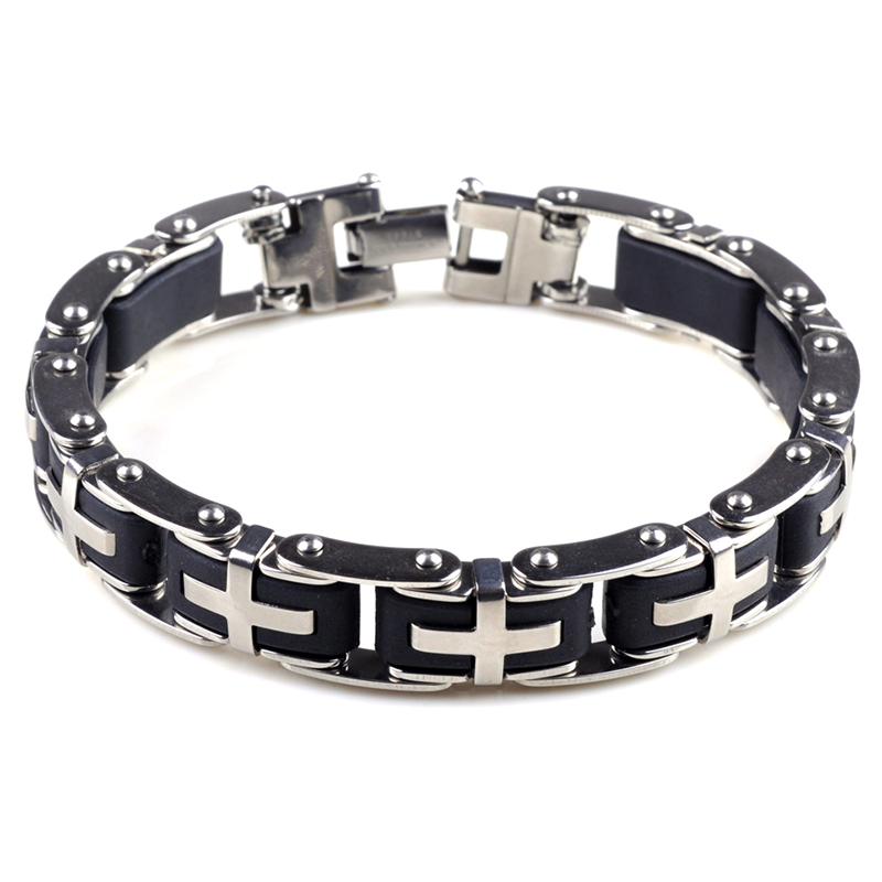 Fashion 316L Stainless Steel Cross Bracelets for Women Mens Cuff Bangles Wristband Best Gift