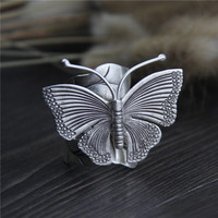 Handmade Ring Genuine 925 Sterling Silver Leaves Butterfly Adjustable Antique Thai Silver Finger Rings For Women Free Shipping