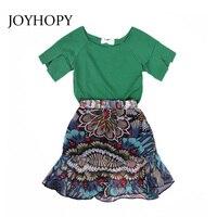 JOYHOPY Summer Girls Clothing Sets 2018 Baby Girls Clothing Sets Tracksuit Children Clothing Flower Print Chiffon