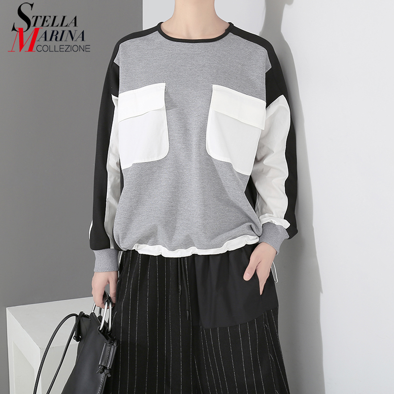 2019 Women Cotton Loose Gray Jumper Pullovers Sweatshirt With Pockets Patchwork Design Oversized Unique Casual Sweatshirts 7143