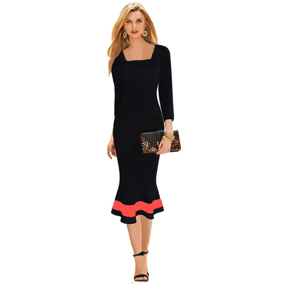Buy Cheap Ankle-length New Arrival Three Quarter Women Business Work Sheath Bodycon Summer Dress Contrast Color Dress