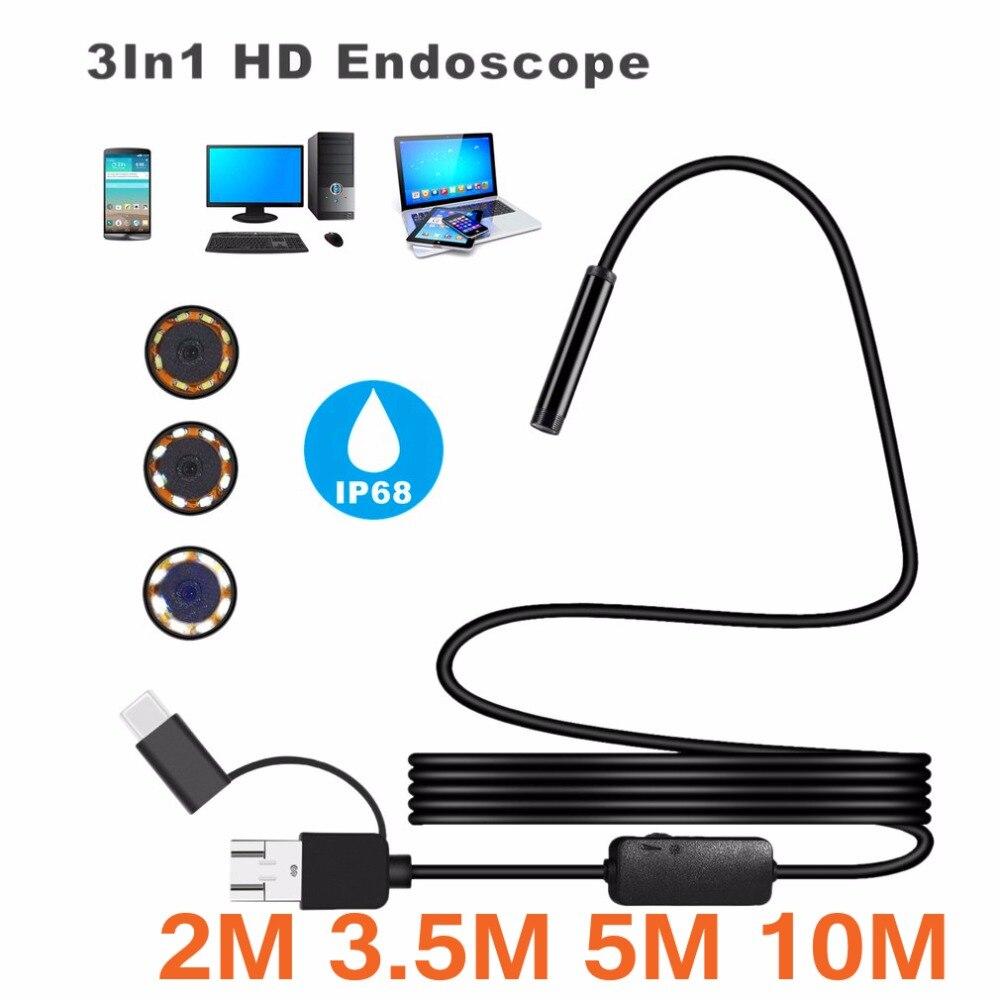 3-en-1 IP68 1200 p Android 8mm Micro USB Type-c USB Ordinateur Endoscope Endoscope tube D'inspection Étanche Mini Caméra Vidéo