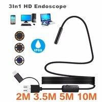 Micro USB Type C USB 3 In 1 Computer Endoscope Borescope Tube Waterproof USB Inspection 1200P