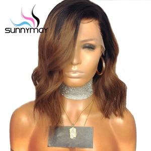 Image 3 - Парики из человеческих волос на сетке, 13 х4 дюймов, 150% 1b/коричневые, с эффектом омбре