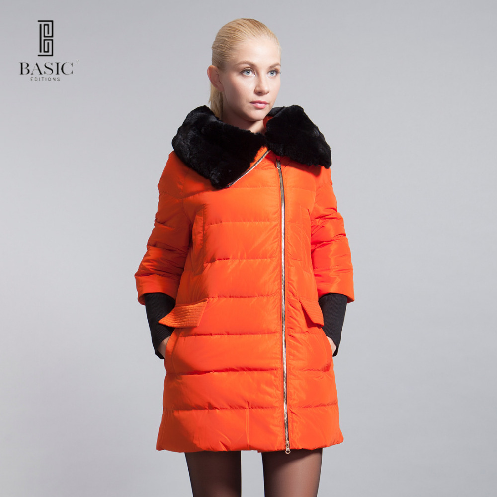 BASIC EDITIONS 2015 зима ультра модный пуховик средней длины пух белой утки без пояса с настоящим мехом кролика рекса