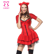 43ce4e9c90f Vilain rouge diable Costume adulte jeux de rôle démon fantaisie robe  Cosplay Halloween Costumes pour femmes Sexy uniforme tenues