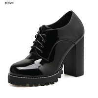 Women Fashion Lace Up Ankle Boots Sexy Platform Thick High Heels Round Toe Party Shoes Woman