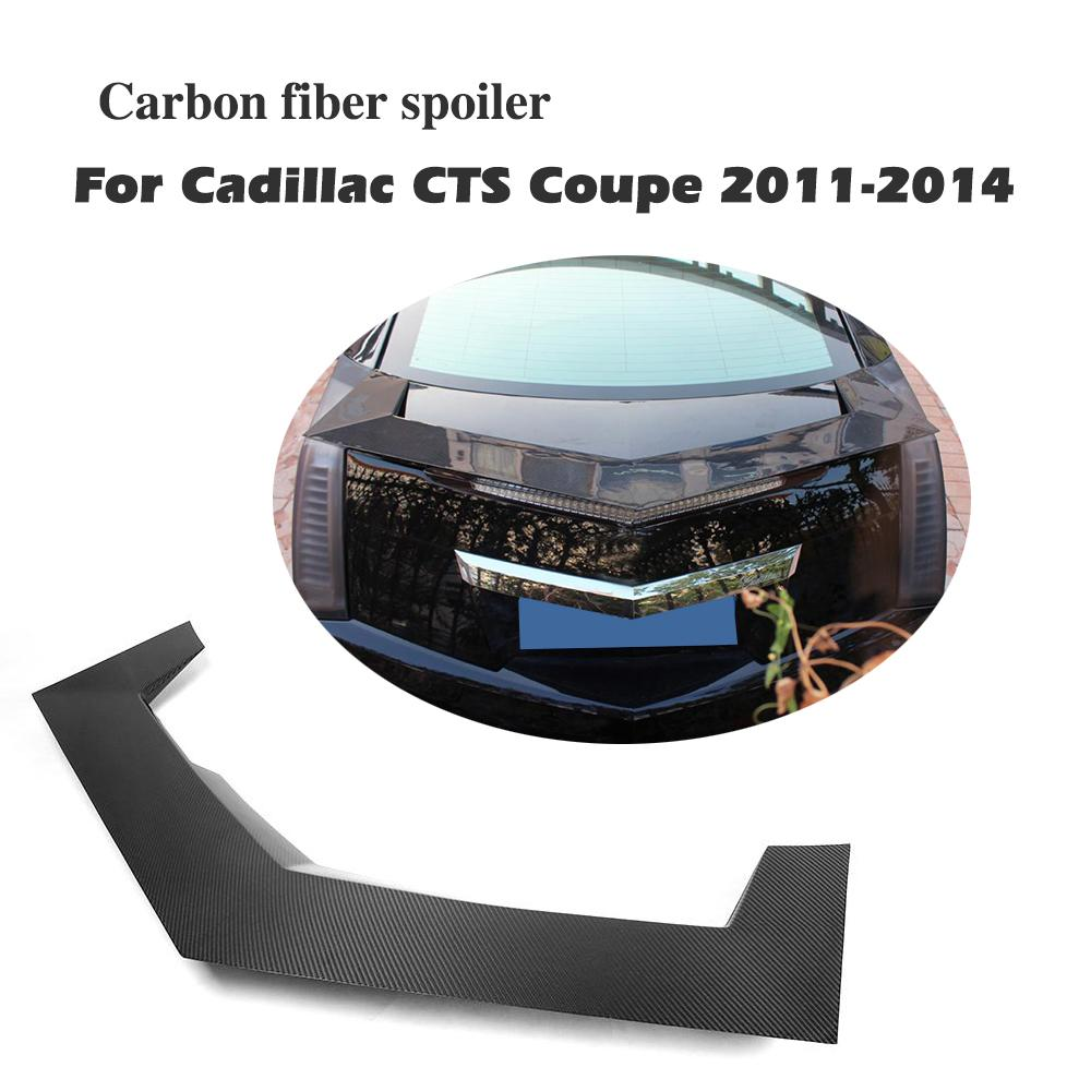 Carbon Fiber Rear Spoiler Trunk Boot Lip Sticker Wing For Cadillac CTS Coupe 2 Door 2011 2014 Car Accessories