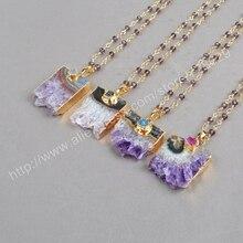 BOROSA 5Pca/lot Fashion Necklace for Women 2015 New Arrival Gold Natural Druzy Necklace Pendant G238