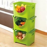 Japanese style overlay plastic storage box, kitchen vegetable storage baskets bathroom storage racks SN2026
