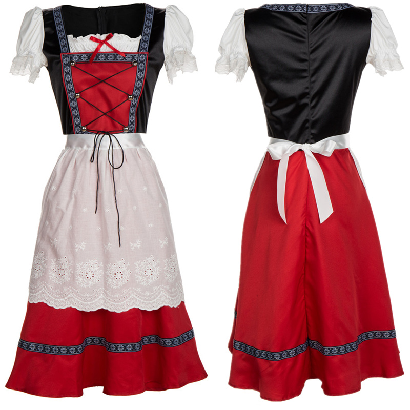 Fashioon Oktoberfest Beer Girl Costume Plus Size 2018 Germany Tradition Oktoberfest Dirndl Beer Girl Costume Dress+Apron S-4XL