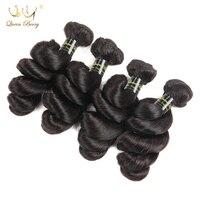 Queenberry 4 Adet Gevşek Dalga Hint Virgin Saç Uzantıları 8 Inç-28 Inç Doğal Renk Işlenmemiş Insan Saç Demetleri hint Saç