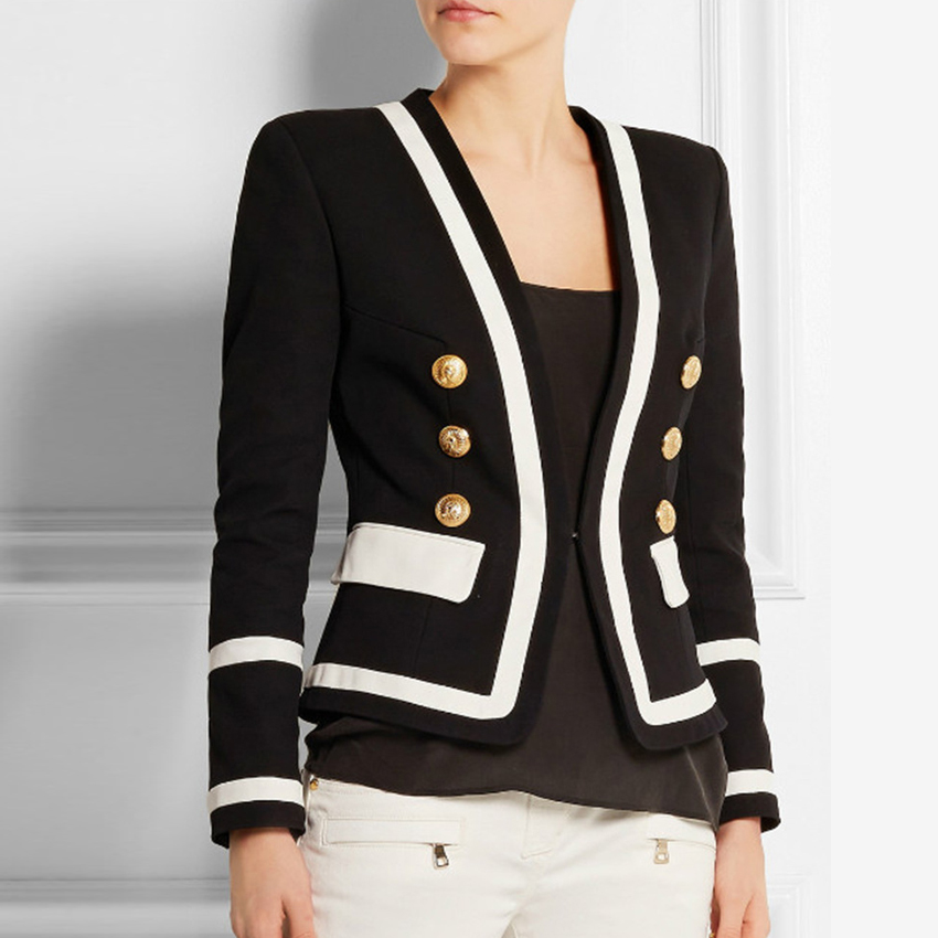 HIGH STREET New Fashion 2020 Designer Blazer Women's Classic Black White Color Block Metal Buttons Blazer Jacket Outer Wear