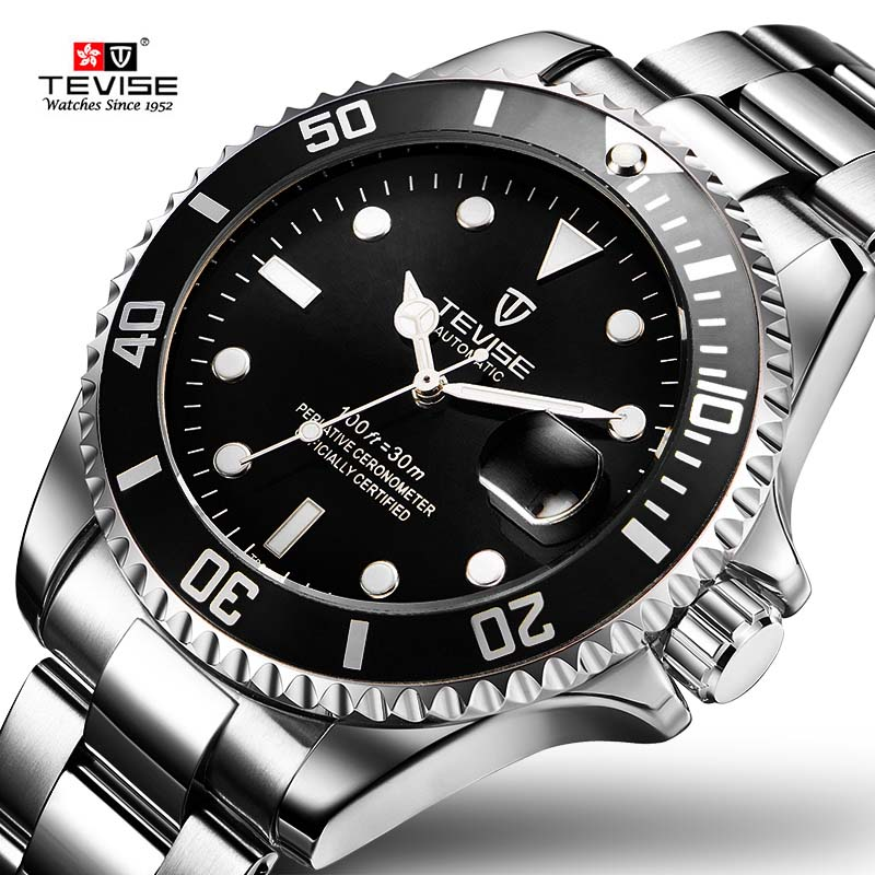 2017 Tevise Brand Men Mechanical Watch Automatic Role Date Fashione Luxury Submariner Clock Male Reloj Hombre