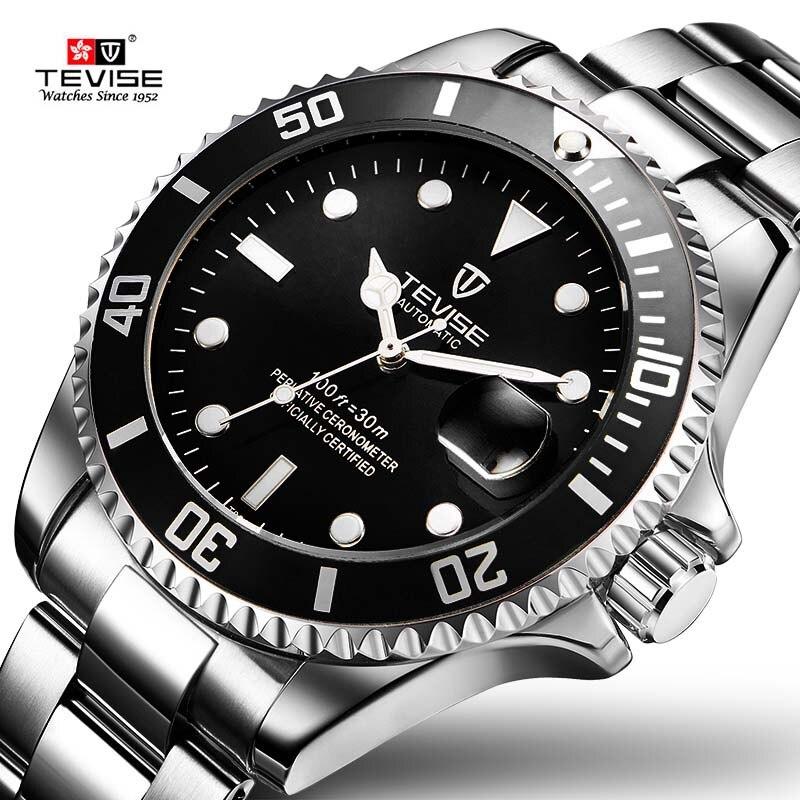 2017 Tevise Marque Hommes Montre Mécanique Automatique Rôle Date Fashione de luxe Sous-Marinier Horloge Mâle Reloj Hombre Relogio Masculino