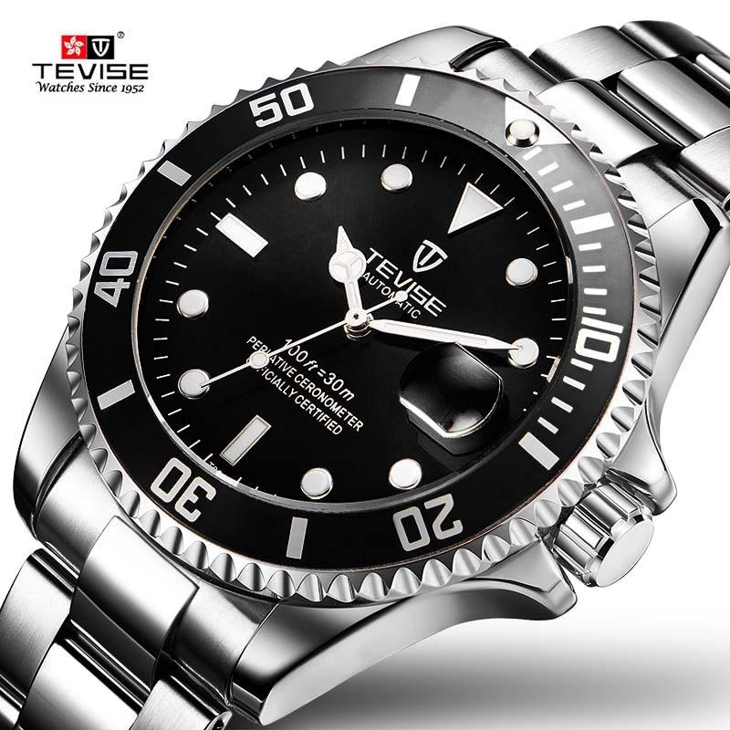 2019 transporte da gota tevise marca superior homens relógio mecânico automático moda de luxo aço inoxidável masculino relogio masculino