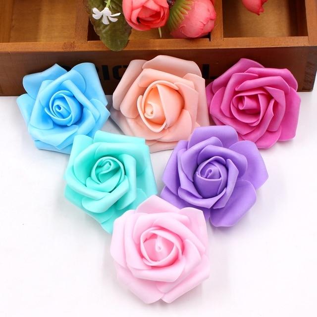 100pcs/lot 6 cm Foam Artificial Rose Flowers Head For Wedding Party Car Decoration DIY Garland Decorative Floristry Fake Flowers
