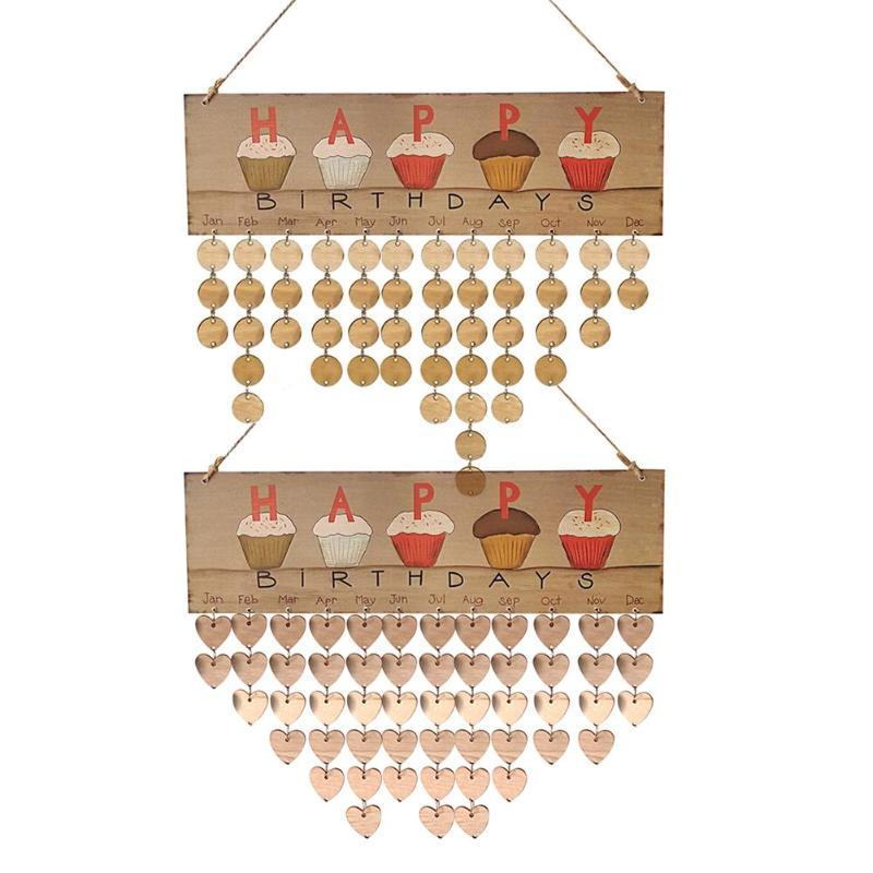 2018 DIY Wooden Hanging Calendar Happy Birthday Reminder Specil Date Mark Sign Board Round Love Heart Pattern Wall Calendario