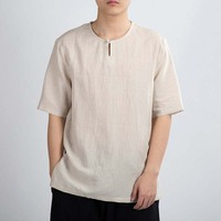 MRDONOO Summer linen short sleeved men's Chinese wind button cotton and linen shirt loose thin section casual retro style