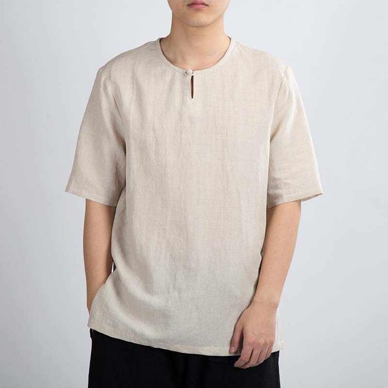 MRDONOO ฤดูร้อนผ้าลินินแขนสั้นผู้ชายลมจีนปุ่มและผ้าลินินหลวมบางส่วนสบายๆ retro สไตล์
