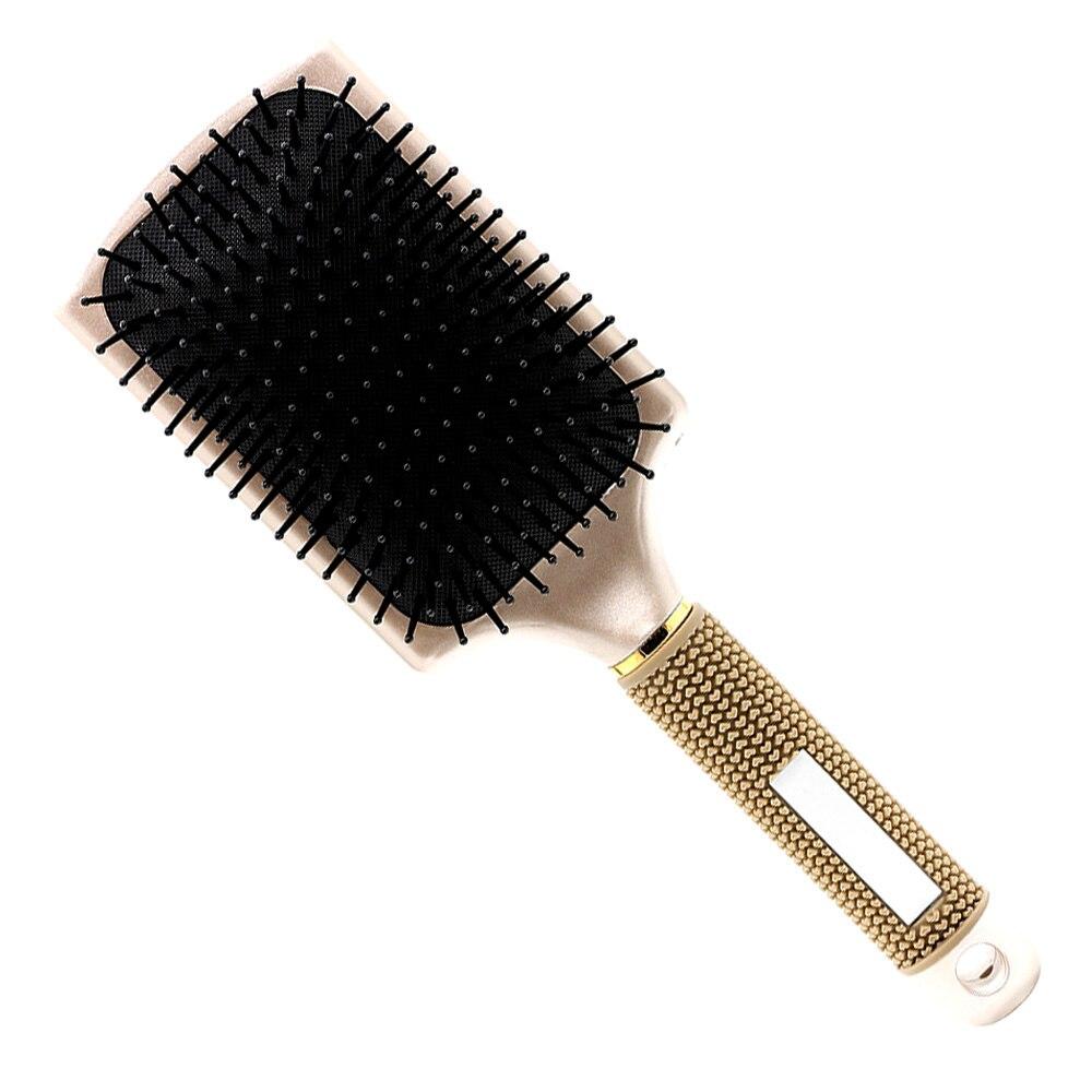 New Rose Gold Anti Slide Griff Haar Massage Pinsel Luft Paddle Verwicklung Haarbürste Kamm In Platz Design Antistatische Detangle pinsel