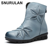 SNURULAN Womens Ankle Boots Soft Flats Shoes Fashion Womens Autumn Winter Genuine Leather Shoes Female Plus Size 40 41E208