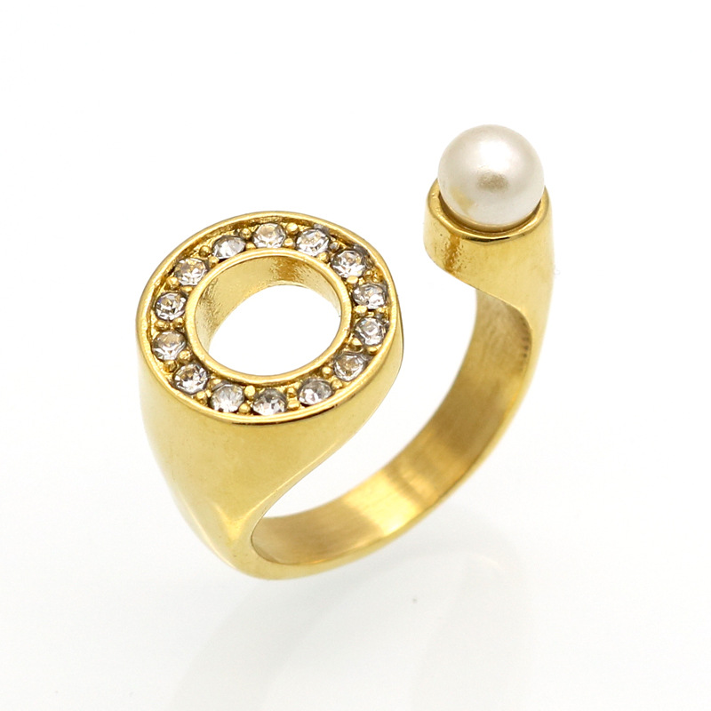 Hot Sale Fashion Women Brand Silver Gold Stones Plated Stainless Steel Crystal Round Simulated Pearl U Rings Jewelry