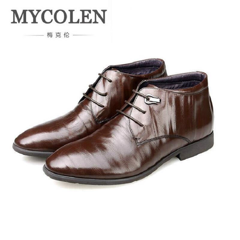 MYCOLEN Men Boots Leather Men Shoes Casual Lace Up Brown Ankle Boots Winter Fashion British business Dress Boots Cowboy top new men boots fashion casual high shoes cowboy style high quality lace up classic leather ankle brand design season winter