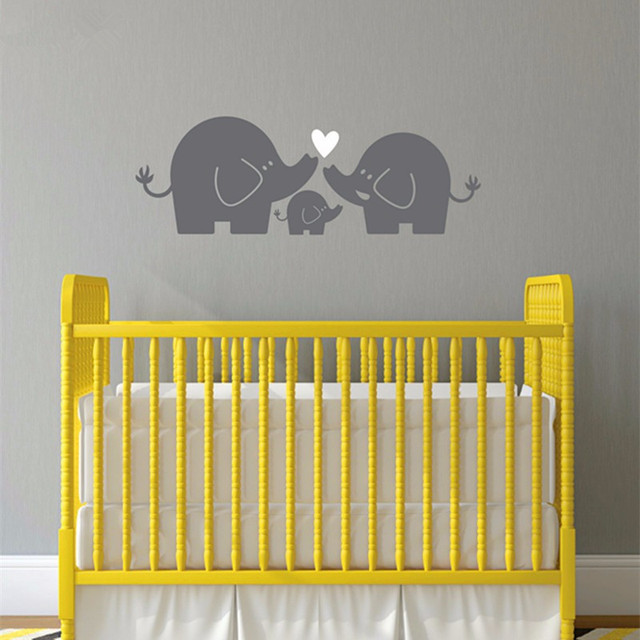 1M New Elephant Family Wall Decal Nursery Elephant Wall Sticker Baby ...