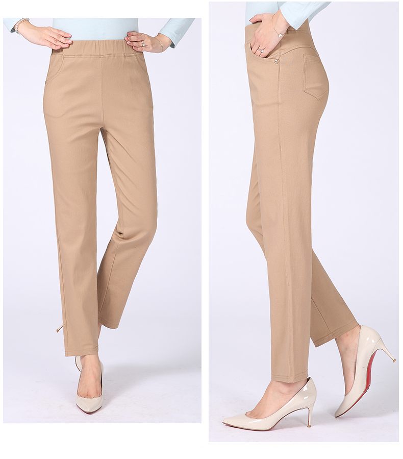 Women Casual Pants Plain Color Basic Trousers Spring Autumn Pantalones Mujer High Elastic Band Waist Pant Red White Gray Black (21)