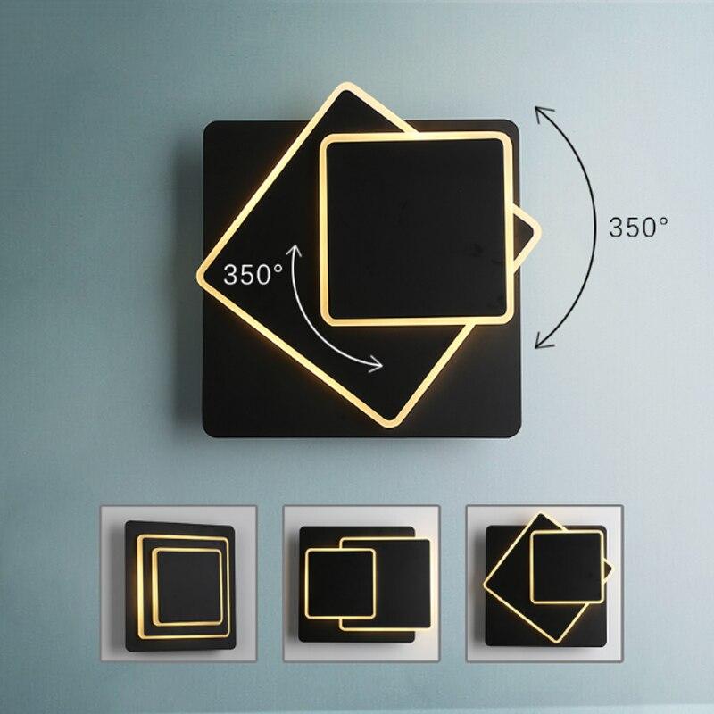 Simple modern creative rotating design square wall lamp sandblasting hardware black acrylic LED lighting staircase decorative