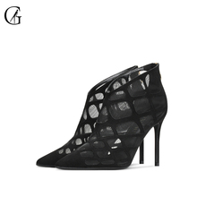 Купить с кэшбэком GOXEOU 2019 New Spring Sandals Grid Hollow Zipper Sexy High Heels Banquet Gladiator Thin- Heels-red High-heeled Sandals Free Pos