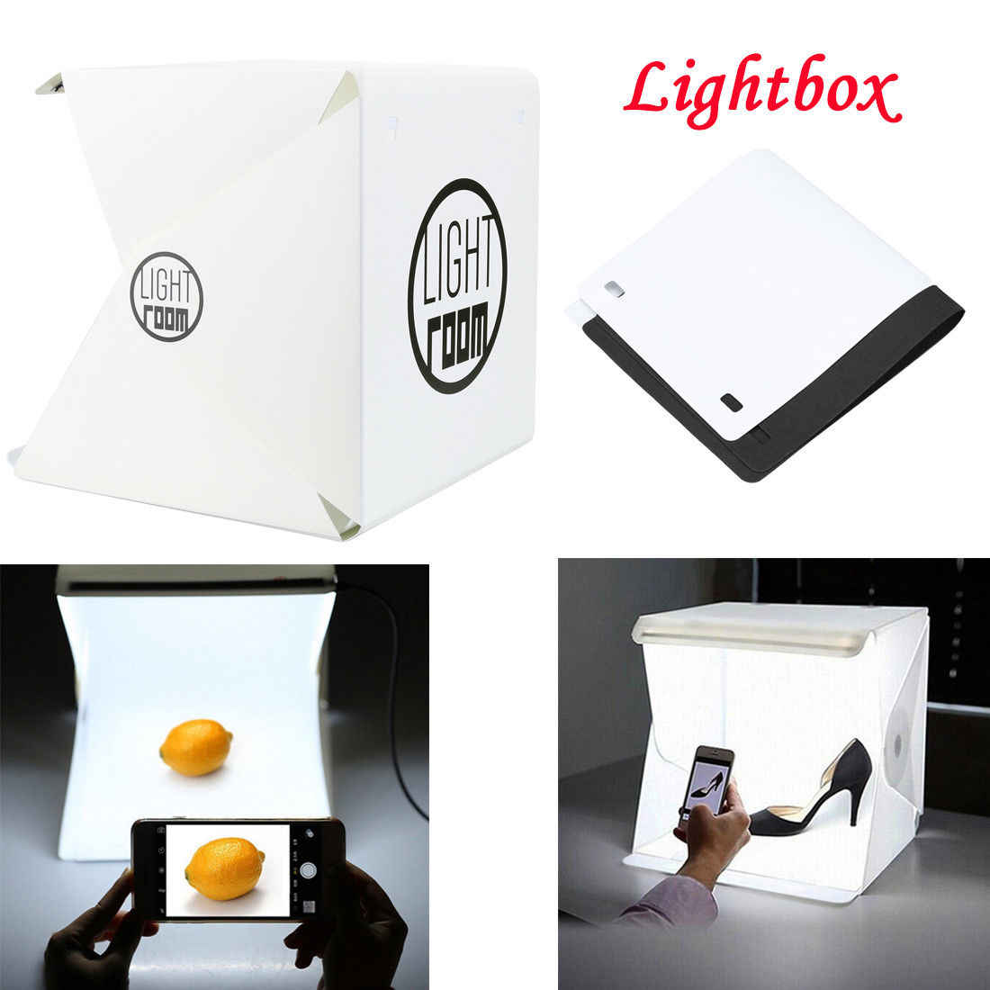 Mini Portable Folding Lightbox Photography LED Light Room Photo Studio Light Soft Box Background Kit for Digital DSLR Camera