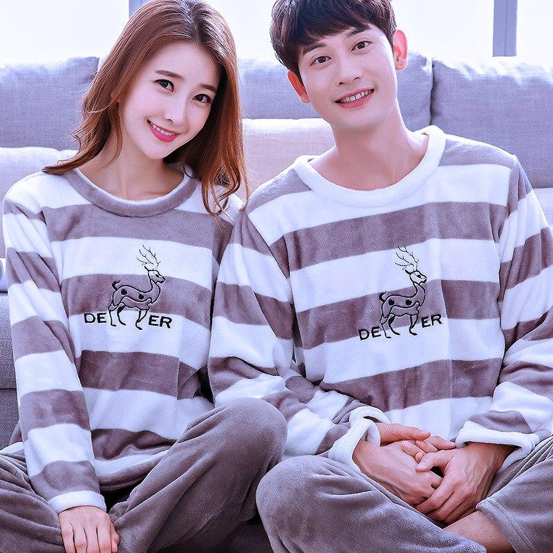 Girls Coral Fleece Pajamas Female Thick Flannel Homewear Long Sleeve Coral Nightwear Plus Size Couples Lover Sleepwear D-2083