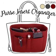 Makeup Bag Organizer Felt Fabric Purse Women Cosmetic Handbag Insert Case Multi-function for Ladies Travel
