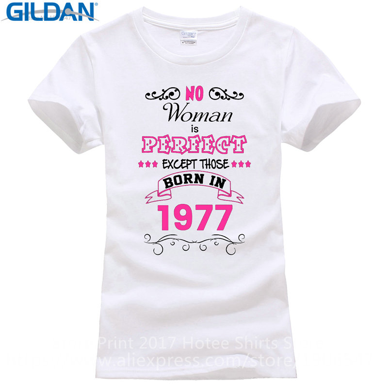 T Shirt Clothing 40Th Birthday Perfect Born In 1977 Short Sleeve Women Zomer Crew Neck Shirts From Womens On Aliexpress