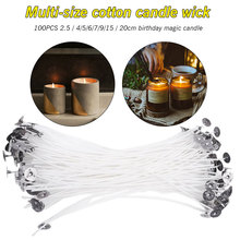 100PCS 2.5/4/5/6/7/9/15/20cm Cotton Candle Wick Smokeless Birthday Candles Magic Relighting