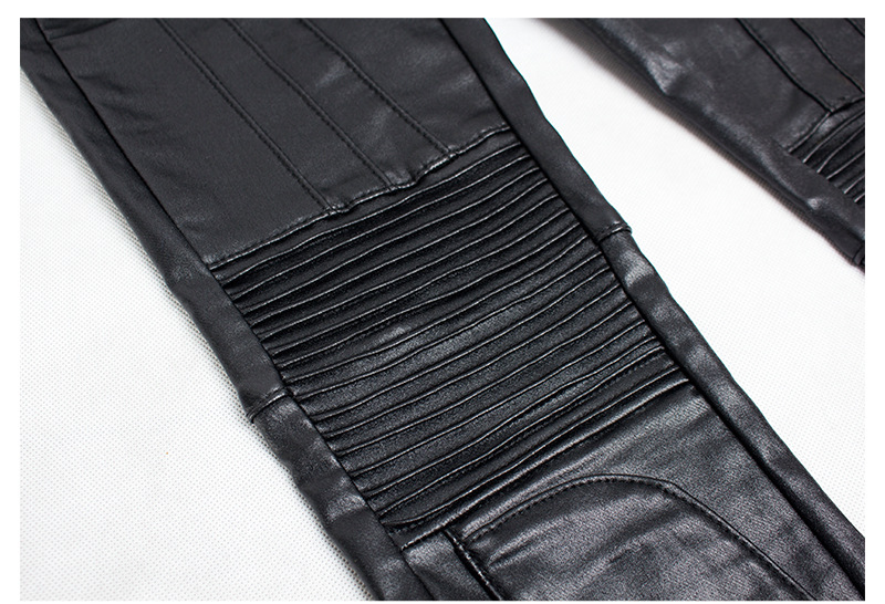 19 Winter Plus Size Stretch PU Leather Pants For Women High Waist Joggers Womens Trousers Pencil Skinny Waisted Female Pants 29